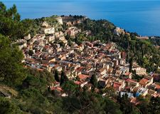 View of Taormina town from Monte Tauro in Sicily stock photography