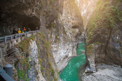 View of Taroko Gorge and Hiking Trail of Jhuilu Old Trail in Taroko National Park. Hualien, Taiwan stock photos