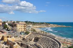 View of Tarragona. Coastline of Tarragona, Spain with sea, ruins and sky stock images
