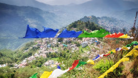 View from Tashi Viewpoint at Gangtok, India. The Tashi View Point of Sikkim is located at a distance of 4 kms from Gangtok, which is the capital city of Sikkim Royalty Free Stock Photo