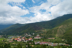 View of Tashichoe Dzong, Thimbu, Bhutan Royalty Free Stock Images