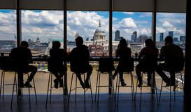 View from the Tate tower with silhouette of visitors