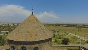 View of Tatev Monastery located on large basalt plateau near village in Armenia. Stock footage stock video footage