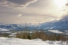 The view of Tatra Mountains. Indescribable winter  dawn at the mountains Stock Photos