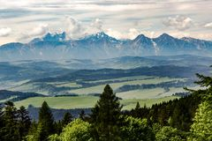 View on Tatra mountains range stock images
