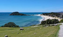 View of Tauranga from Mount Maunganui in New Zealand royalty free stock photography