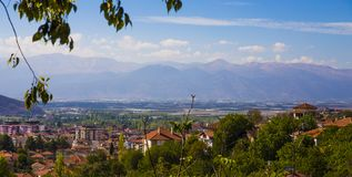 The view of Taurus Mountains from the historical site of Elmali District, Antalya, with a view of the city in the foreground royalty free stock photography