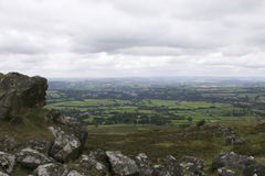 View of Tavistock from Dartmoor. National park stock photography