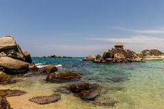 A view in Tayrona National Park in Colombia stock photography