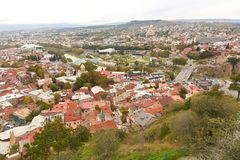View of Tbilisi, Georgia. View of the Tbilisi - ancient city and the capital of Georgia, retro style Royalty Free Stock Photo