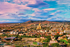 View of Tbilisi. Beautiful panoramic view of Tbilisi at sunset Royalty Free Stock Photos