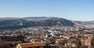 View on Tbilisi and cableway Royalty Free Stock Image