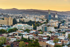 View on Tbilisi city on sunset. Georgia Stock Images