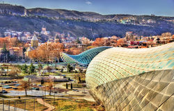 View of Tbilisi with unfinished Cultural Centre Royalty Free Stock Photo