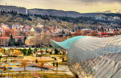 View of Tbilisi with unfinished Cultural Centre Stock Photo