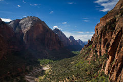View of te Zion Canyon from Angels Landing stock image
