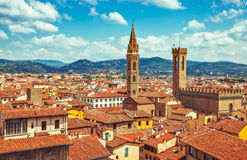 View at tegular roofs and towers Stock Images