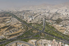 View of Tehran from the Azadi Tower - Iran.  stock photography