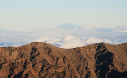 View of Teide peak from El Roque de los muchachos Stock Image