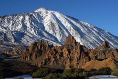 View of teide volcano. Volcano mountain under snow cover Royalty Free Stock Photo
