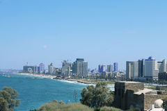The view of Tel aviv beach from Jaffa. On a sunny bright day Stock Photography