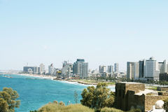 The view of Tel aviv beach from Jaffa. On a sunny bright day Stock Image