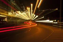 Zoom Smeared Urban Lights Royalty Free Stock Photos