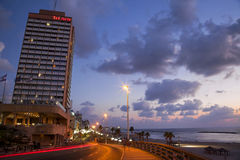 Tel-Aviv Boardwalk & Beach at Dusk Royalty Free Stock Image
