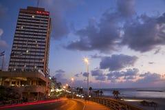 Tel-Aviv Boardwalk & Beach at Dusk Royalty Free Stock Image