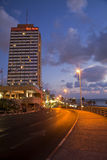 Tel-Aviv Boardwalk & Beach at Dusk Royalty Free Stock Photos