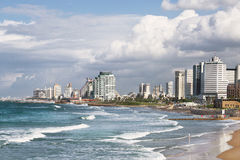 View of Tel Aviv and the Mediterranean coast Stock Images