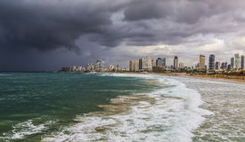 View of Tel Aviv and the Mediterranean coast before the storm as seen from the old Jaffa Royalty Free Stock Photos