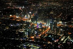 View of Tel Aviv at night from the plane, Israel Stock Images