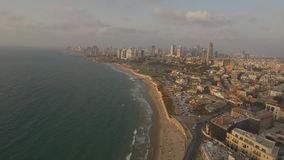 View of the Tel-Aviv public beach on Mediterranean sea. Israel stock video footage