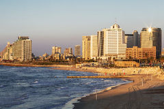 View of tel Aviv at sunset from the old Jaffa Royalty Free Stock Images