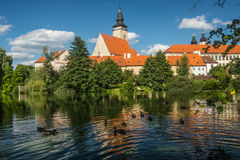 View of Telc town, Czech Republic. View of small town of Telc in Moravia, Czech Republic. Some ducks swimming in the lake in the city park Stock Photography