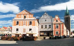 View from Telc town square Stock Photo