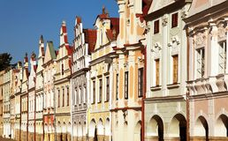 Telc town square with renaissance buildings. View from Telc town square with renaissance and baroque colorful houses, UNESCO town in Czech Republic Royalty Free Stock Photography