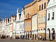 View from Telc town square with renaissance houses Stock Image