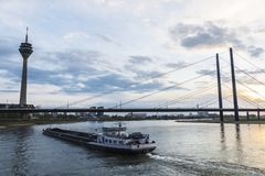 Telecommunications tower and the Oberkassel bridge in Germany Royalty Free Stock Photo