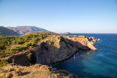 View on Telendos Island. View over the Mediterranean from a mountain on Telendos Island, Greece Stock Image