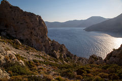 View from Telendos Island. View over the Mediterranean from a mountain on Telendos Island, Greece Stock Photos