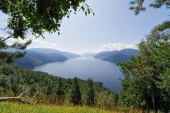 View of the Teletskoye Lake from the mountain Chichilgan Royalty Free Stock Photos
