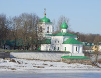 View of the temple of the Apostle and Protomartyr Stephen in the Holy Transfiguration Mirozh monastery. Pskov Royalty Free Stock Photos