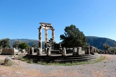 view of Temple of Athena Pronea Delphi Greece Stock Photo