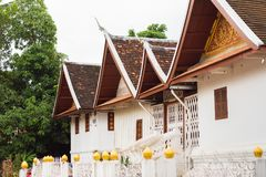 View of the temple building in Louangphabang, Laos. Copy space for text. Royalty Free Stock Photos