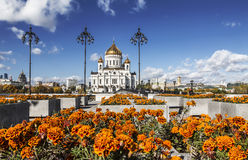 View of the temple of Christ the Savior in Moscow sunny autumn day Royalty Free Stock Photos