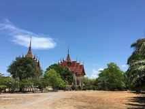View temple with clear sky and clouds stock photo