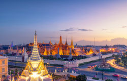 View of Temple of the Emerald Buddha in Bangkok, Thailand. Wat Phra Kaew is one of the most popular tourists destination in Thaila Royalty Free Stock Images