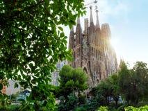 View of the Temple Expiatori de la Sagrada Familia from square Plaza de Gaudi royalty free stock image